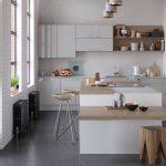 modern kitchen range - zola gloss white light grey kitchen hero
