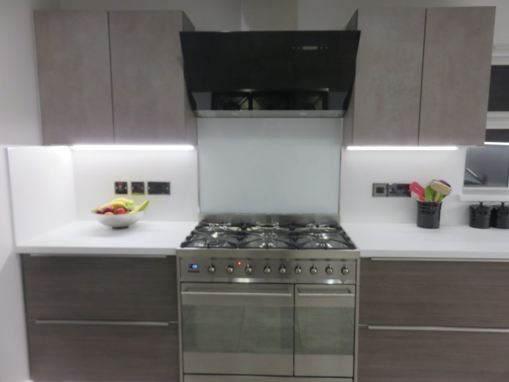 Inline Kitchen With Conctete Amp Driftwood Doors The