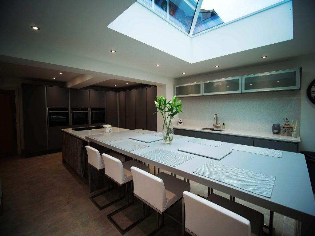 Quartz work surfaces in matt grey & driftwood Linear kitchen | The Gallery